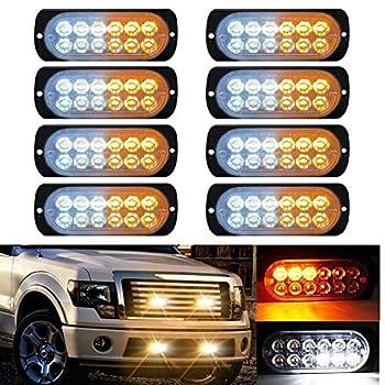 LED Strobe Emergency Lights DIBMS 8x Amber White 12 LED Surface Mount Strobe Warning Emergency Flashing Light Caution Construction Hazard Light Bar For Car Truck Van Lorry Off-Road Vehicles SUV