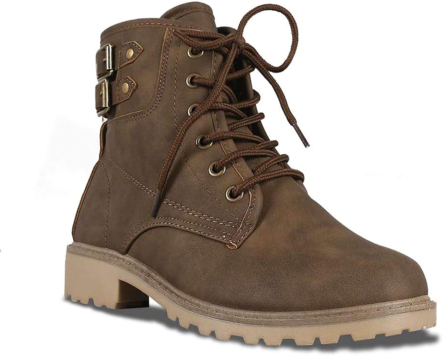 Women's Ankle Combat Military Lace Up Work Boots Ladies Casual shoes WY26