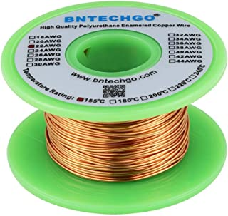 """BNTECHGO 22 AWG Magnet Wire - Enameled Copper Wire - Enameled Magnet Winding Wire - 4 oz - 0.0256"""" Diameter 1 Spool Coil Natural Temperature Rating 155℃ Widely Used for Transformers Inductors"""