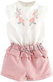 SelansKJ-Babysuits Conjunto de 2 Piezas de Ropa de Verano para niños con diseño de Flores, sin Mangas, Playera con cordón