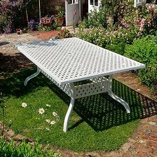 Lazy Susan Weißes Sophia 200 x 120cm Rechteckiges Gartenmöbelset - 1 Weißer SOPHIA Tisch + 6 Weiße APRIL Stühle