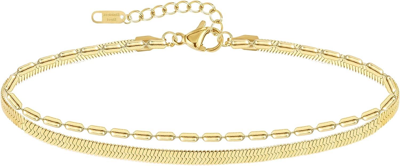 ALEXCRAFT Dainty Gold Chain Bracelets 14K Gold Plated Adjustable