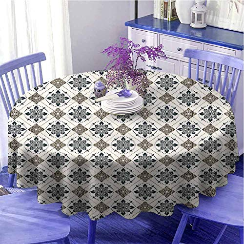 Runde Tischdecke mit persischem Muster, traditionelles Design, kunstvolles Design, Durchmesser 150 cm, Braun / Blau