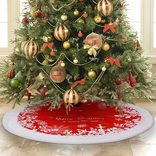 Tree Skirt, FantaspicSeries48 inches Christmas Tree Skirt, Merry Christmas Happy New Year Holiday Indoor Outdoor Festival Supermarket Decorations