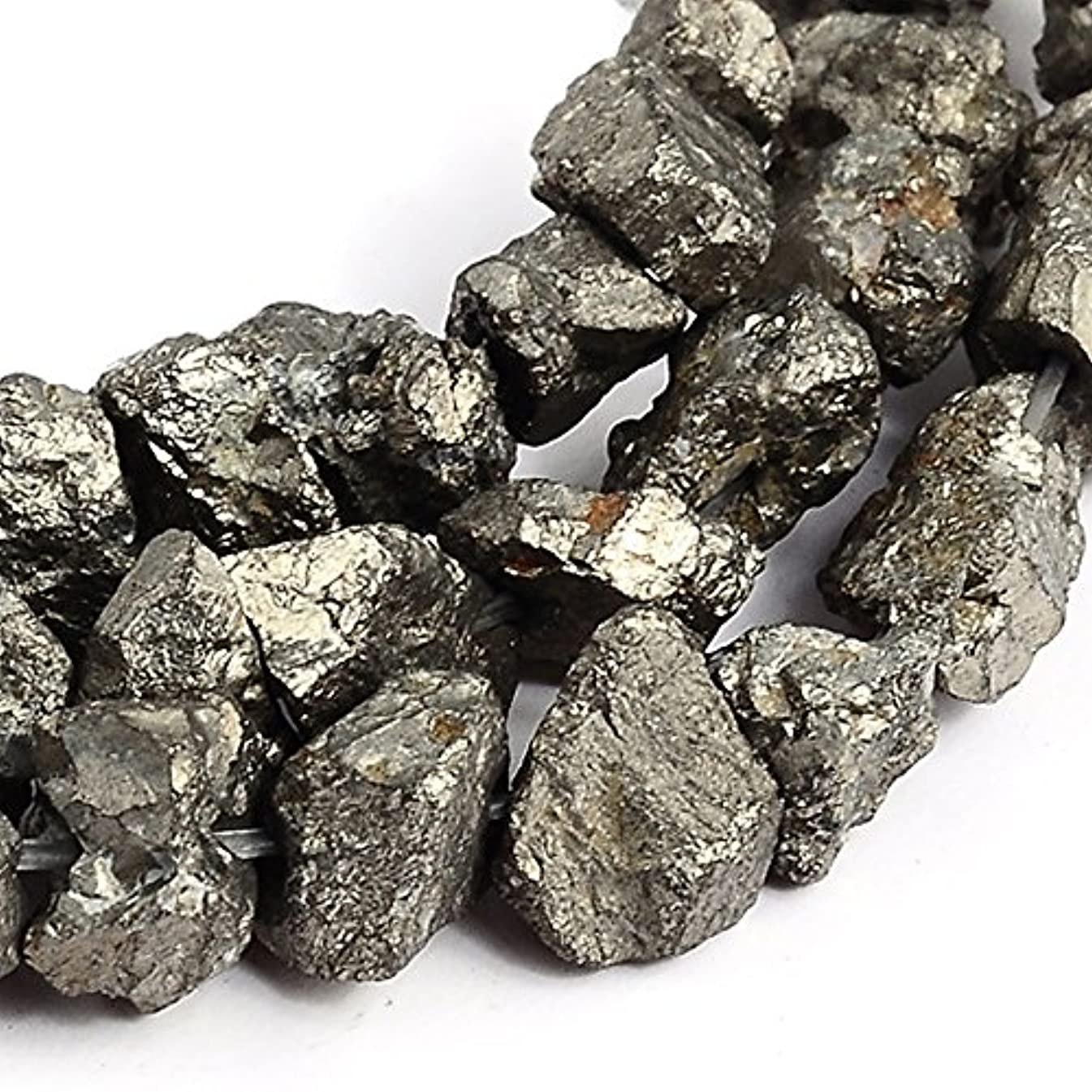 RUBYCA Pyrite Gemstone Natural Nugget Loose Beads AAA Grade for DIY Jewelry Making (1 strand 75pcs)