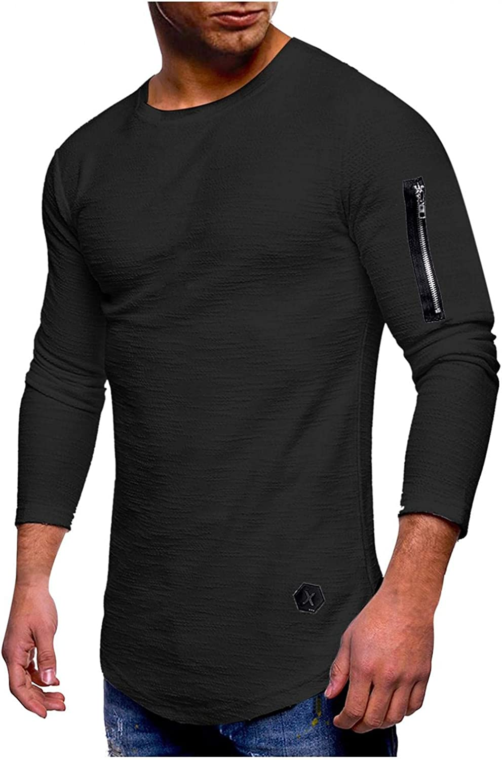 Long Sleeve Tee Shirts for Men Casual Muscle T-Shirts Mens Lightweight Workout Gym Sweatshirts Sport Pullover Tops