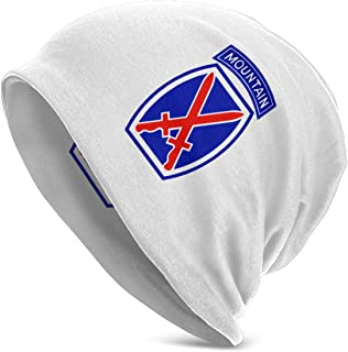IOHAGA Army 10th Mountain Division Unisex Adult Beanie Hats Polyester Hat Cap Winter Outdoor Fashion Slouchy Warm Caps Black