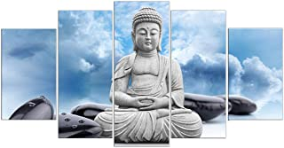 PulsatingFingertip-Hotoke Picture in Blue Sky Buddhism Buddha Oil Painting Black Stone Decor White Clouds Canvas Art Print For Living Room Decoration No Frame