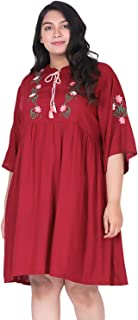 Lastinch Women's Rayon Embroidered Regular Fit Dress
