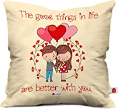 Indigifts Valentine Gift for Boyfriend Love Love Quote Beige Cushion Cover 12x12 inches with Filler - Valentine Gifts for Girlfriend, Love Gifts for Boyfriend, Gift for Boyfriend Birthday