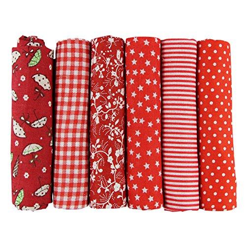 UOOOM 6pcs 50x 50cm Patchwork Cotone Tessuto DIY Handmade Quilting Tessuto Motivi Diversi (Tone-Red)