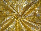 Schwere Seide Brokat Stoff Mango Gelb X Metallic Gold Farbe