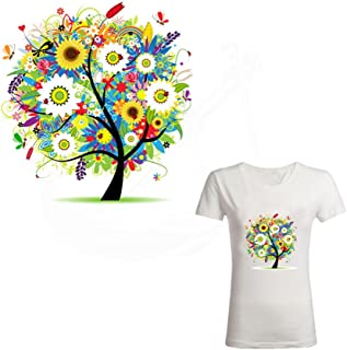21 X 20CM Iron-on Patches for Clothes, Flower Tree Printing Heat Transfer Sticker Patch for Household Irons DIY Decor Hotfix Decal Motif Appliqued for T-shirt Jeans Coats Totes Hoodie