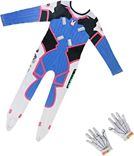 OW Kids Size D.Va Costume Bunny Girl Cosplay Jumpsuit Game Anime Dress-up with Gloves