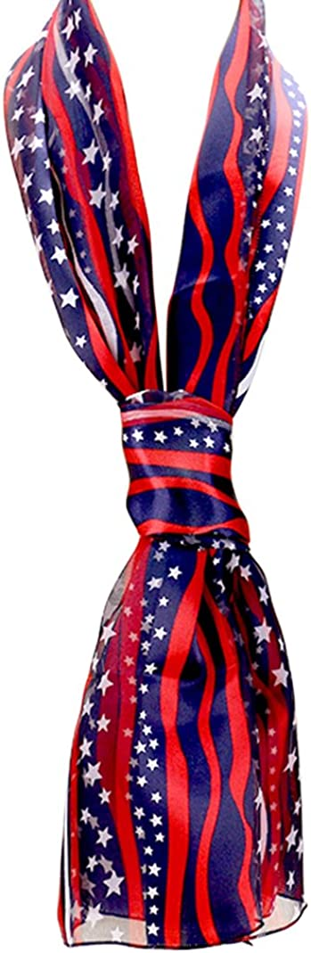 Rosemarie Collections Women's Red White and Blue 4th Of July American Flag Stars and Stripes Fashion Scarf, 60