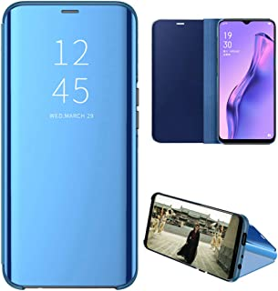 OPPO A31 Case, EabHulie Mirror Plating Hard PC +PU Leather Semi-transparent Standing View Case Cover for OPPO A8 / A31 Blue