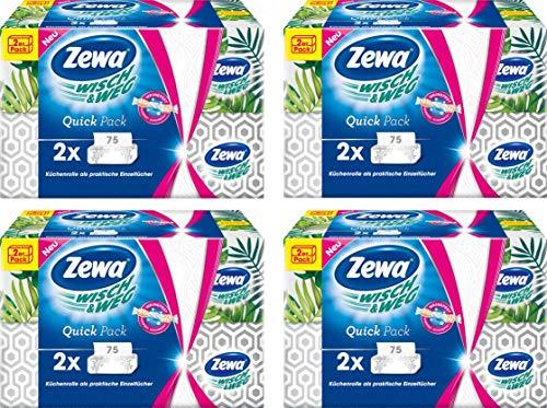 Zewa Wisch und Weg Küchenrolle als praktische Einzeltücher im Duo-Softpack, 4 mal Duo-Softpack (4 x 150 Tücher)