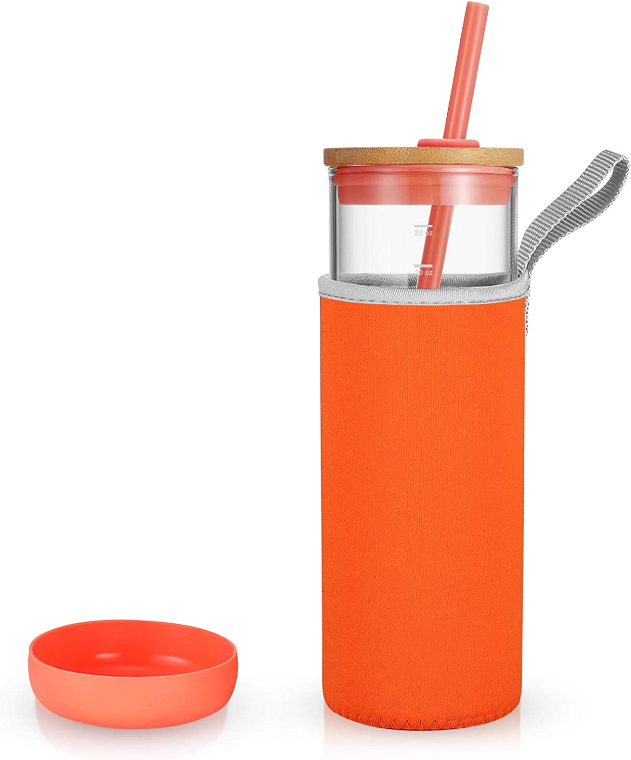 Tronco 24oz Glass Tumbler Glass Water Bottle Straw Silicone Protective Sleeve Bamboo Lid BPA Free