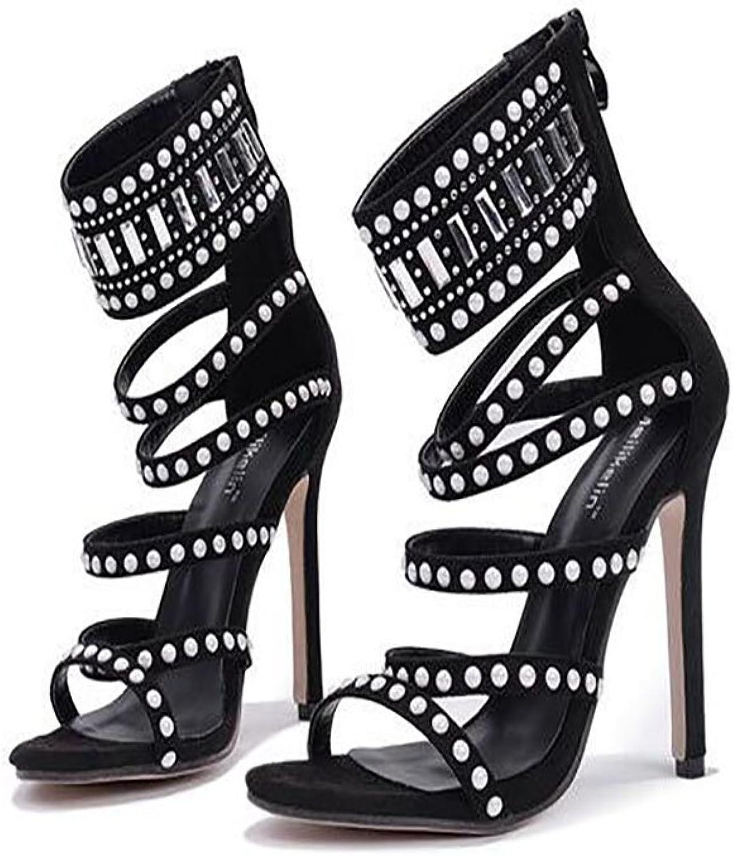 GAOLIXIA Frauen High Heels Heels Heels Hot Diamond High Heel Sandalen Perlen Hohl Sexy Wildleder Schuhe Täglichen Outdoor-Party  d14b26