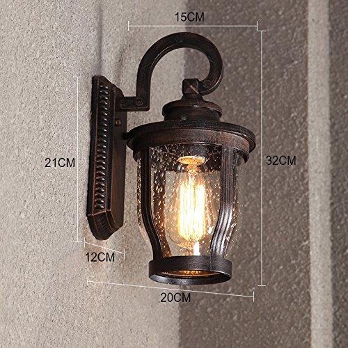 ZWL Rétro mur extérieur imperméable à l'eau, lumières de l'allée de jardin Lampe murale de balcon Lampes de corridor Lumière de route Villa Luminaire de jardin Escaliers extérieurs Lampe murale Éclairage extérieur 32 * 20cm mode ( Couleur : #3 )