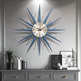 "21 Century Metal Wall Clock, Large Starburst Sunburst Decoration for Home Kitchen Living Room Office (28""),20in"