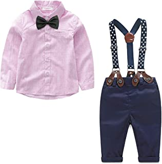 Newborn Baby Boy Clothes Set Shirt + Bowtie + Suspender Pant 4pcs Toddler Boy Gentleman Outfits Suit Set