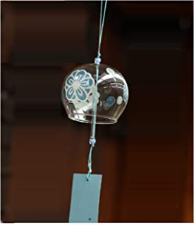 Japanese Edo Furin Wind Chimes Handmade Glass Gift for Daddy Mum New House Birthday-Blue Flower
