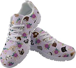 HUGS IDEA Scarpe da corsa da donna con teschio floreale zucchero scarpe leggere e flessibili