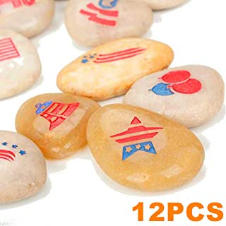 RockImpact 12-Pack USA Patriotic Rocks - American Party Decorations - US Decorations for Table