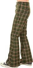 Run & Fly Men's 60's 70's Vintage Retro Green Tartan Plaid Bell Bottom Trouser