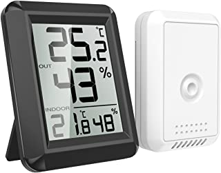 AMIR Digital Hygrometer Indoor Outdoor Thermometer, Humidity Monitor with Temperature Humidity Gauge, Wireless Outdoor Hyg...