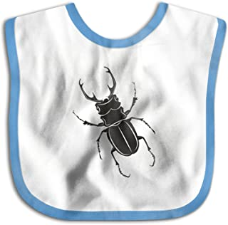 UBCATDESA Insect stag Beetle Baby Bibs, Unisex Baby Soft Cotton Easily Clean Teething Bibs(Blue&Pink)