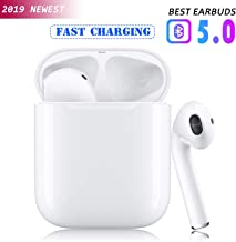 Bluetooth 5.0 Wireless Earbuds with【24Hrs Charging Case】 Waterproof TWS Stereo Headphones in-Ear Built-in Mic Headset Premium Sound with Deep Bass for Sport Earphones Apple Airpods Bluetooth Earbuds