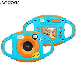 كاميرا Andoer واي فاي للأطفال الإبداعية 5 ميجا بكسل 1080 بكسل كاميرا رقمية مصغرة مضادة للصدمات 1.77 بوصة شاشة LCD لون واي فاي ومشاركة الوقت الحقيقي صور خاصة مؤثرات كاميرا مزدوجة أمامية وخلفية