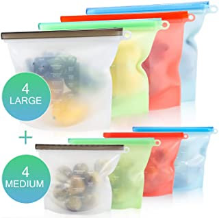 DIFENLUN Reusable Silicone Food Storage Bag, Airtight Zip Seal Cooking Bags-Preservation Bag for Vegetable Liquid Snack Meat Lunch Fruit,FDA Grade (4-Medium&4-Large)