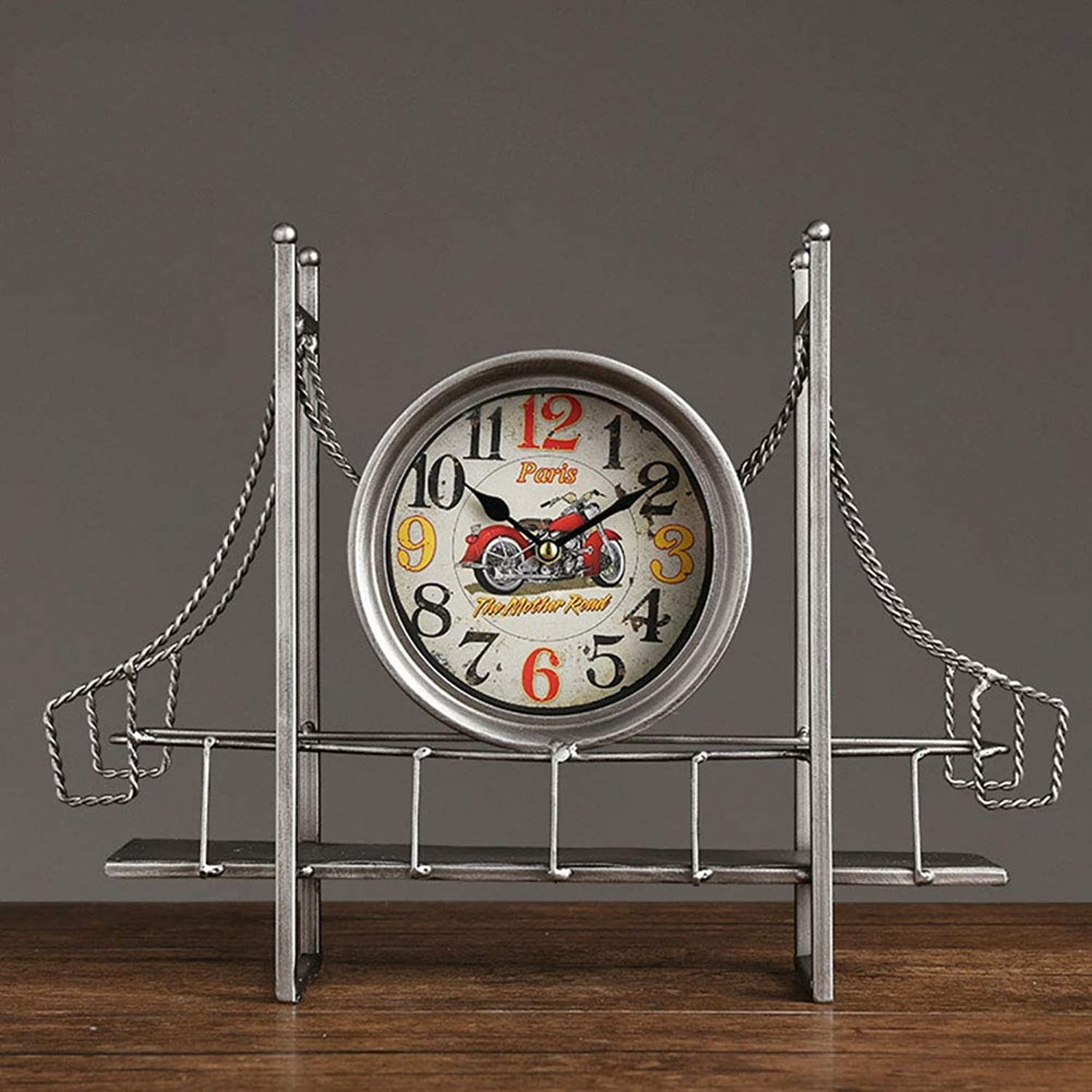 Mantel Clock, ndustrial Wind seat Pendulum Clock Ornaments Living Room Large Home Time Clock Retro Old Personality Desktop Table Clock