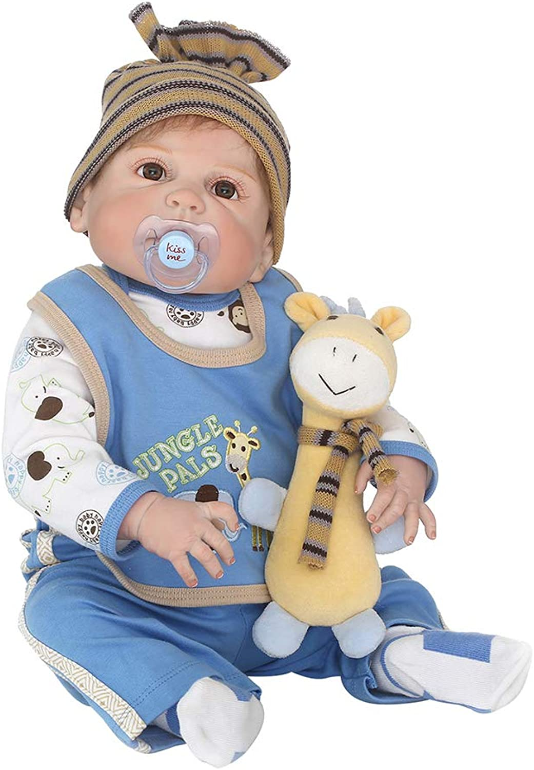 Danigrefinb 22.05 Inch Soft Body Baby Doll, 56cm Vinyl Silicone Reborn Baby Doll Lifelike Kids Accompany Toy with Pacifier  bluee