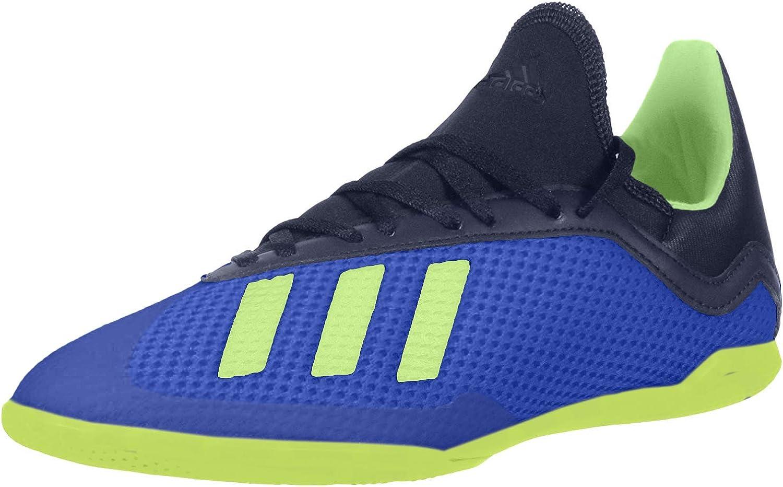 adidas Unisex-Kid's X Tango 18.3 in J Soccer Shoe, Football Blue/Solar Yellow/Core Black, 1 M US Big Kid