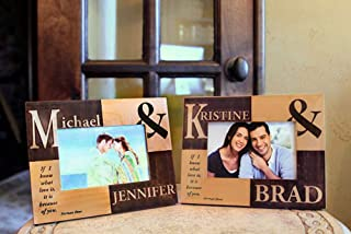 Qualtry Personalized Wedding Picture Frames with Engraved Names and Quote Valentine Day, Wood Frame Photo Frames for Couples