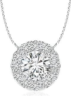 Round Diamond Necklace with Halo (4.1mm Diamond)