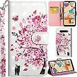DodoBuy LG K41s/K51s Hülle 3D Flip PU Leder Schutzhülle Handy Tasche Wallet Hülle Cover Ständer mit Trageschlaufe Magnetverschluss für LG K41s/K51s - Katze Baum