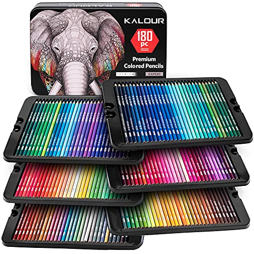 KALOUR 180 Colored Pencil Set for Adults Artists - 3.3mm Rich Pigment Soft Core -12 Metallic Pencil - Wax-Based - Ideal for Coloring Drawing Sketching Shading Blending - Vibrant Color(Tin Case)