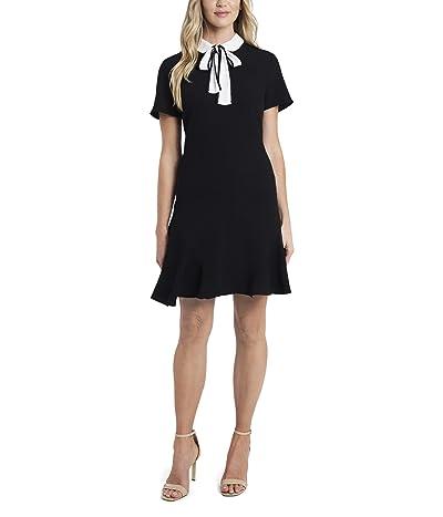 CeCe Short Sleeve Collared Moss Crepe Dress (Rich Black) Women