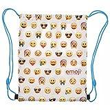 sacca porta scarpe bambina e bambino emoji - borsa portatutto impermeabile per sport e per viaggio - 39x31 cm - bianco e giallo - perletti