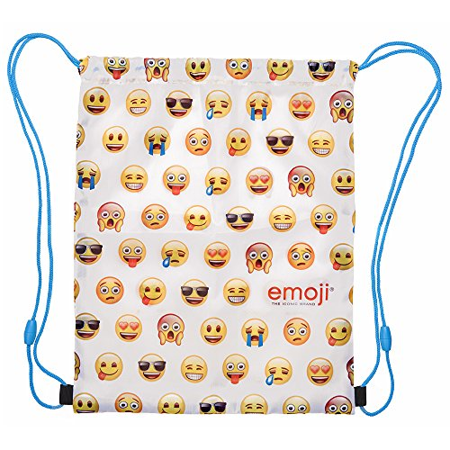 PERLETTI Emoji Drawstring Sac for Boys and Girls - Swim Gym Bag Waterproof Kids - Training Shoe Bag ideal for travel and sport - White - 39x31 cm