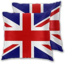 Throw Pillow Case Cushion Cover British Flag Throw Pillow Union Jack Design Set of 2 Square Pillowcases Sham Home for Sofa...