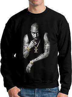 Men's 2Pac Death Row All Eyes On Me Fashion Classic Long Sleeve Sweatshirt Crew Neck Hoodie Black