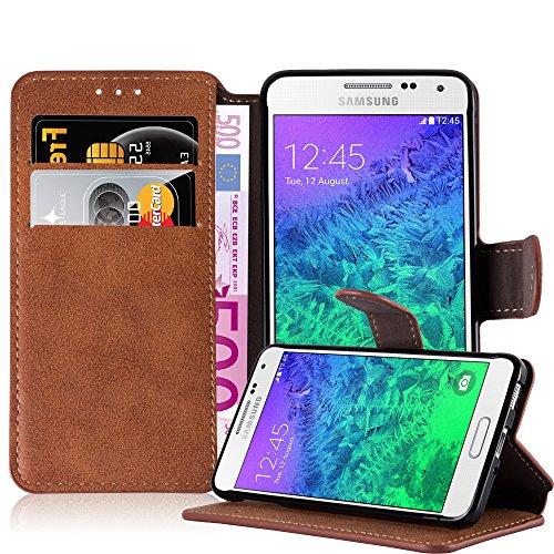 Cadorabo Custodia per Samsung Galaxy Alpha Custodia di Libro di Finta-Pelle Matt Retro in Arancione OPACHE – con Vani di Carte Funzione Stand e Chiusura Magnetica