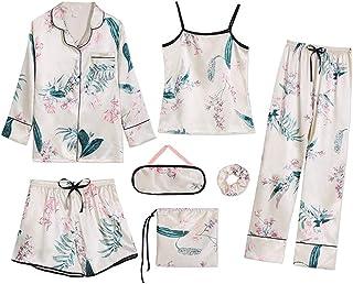 [テンカ]レディースパジャマ シルク ルームウェア 女性 前開き 7点セット シャツ風 通気性 スリップ ヘアロープ 収納袋付き 四季通用 彼女 恋人 プレゼント 人気
