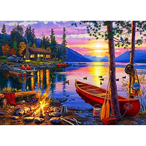Puzzle per adulti 1000 pezzi puzzle – The sun lake, educativo intellettuale decompressione giocattolo puzzle divertente famiglia per adulti decorazione casa puzzle